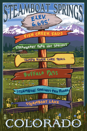 Steamboat Springs, Colorado - Destination Sign Posters by  Lantern Press
