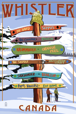 Ski Runs Signpost - Whistler, Canada Plakater af  Lantern Press