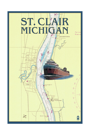 St. Clair, Michigan - Nautical Chart Posters by  Lantern Press