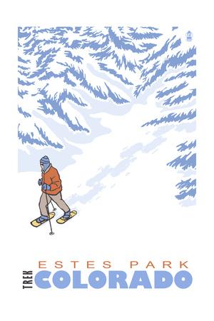 Estes Park, Colorado - Stylized Snowshoer Art by  Lantern Press