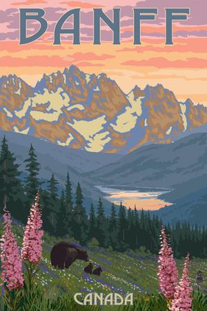 Banff, Canada - Bear and Spring Flowers Plakater af  Lantern Press