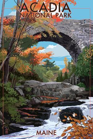 Acadia National Park, Maine - Stone Bridge Kunst von  Lantern Press