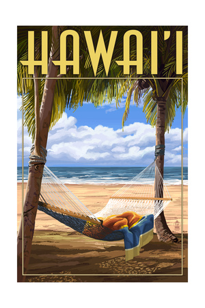Hammock Scene - Hawaii Print by  Lantern Press