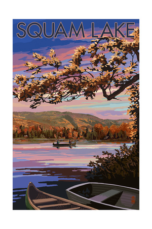 Squam Lake, New Hampshire - Lake at Dusk Posters by  Lantern Press