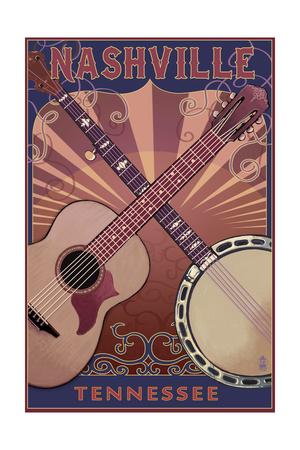 Nashville, Tennessee - Guitar and Banjo Music Prints by  Lantern Press
