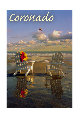 Adirondack Chairs facing the ocean on Coronado Beach relaxing San Diego travel art print by Lantern Press