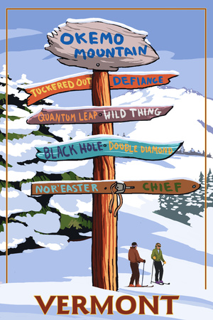 Okemo Mountain Resort, Vermont - Ski Sign Destinations Poster by  Lantern Press