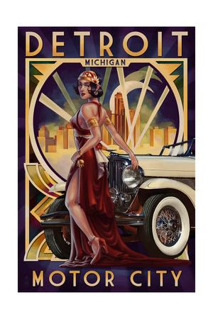 Detroit, Michigan - Deco Woman and Car Posters by  Lantern Press