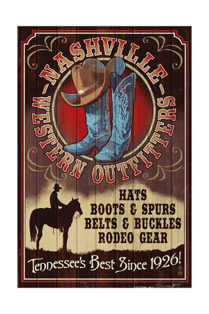 Nashville, Tennessee - Hat and Boots Vintage Sign Prints by  Lantern Press