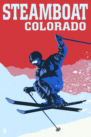 Steamboat, Colorado - Colorblocked Skier Poster by  Lantern Press