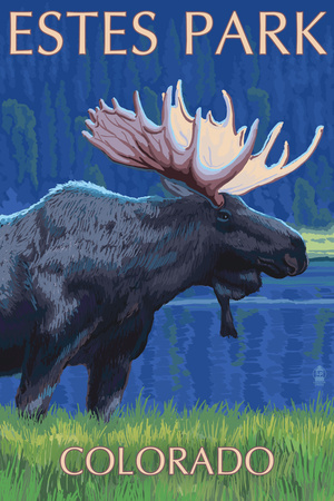 Estes Park, Colorado - Moose at Night Poster by  Lantern Press