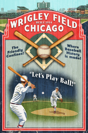 Chicago, Illinois - Wrigley Field Vintage Sign Art by  Lantern Press