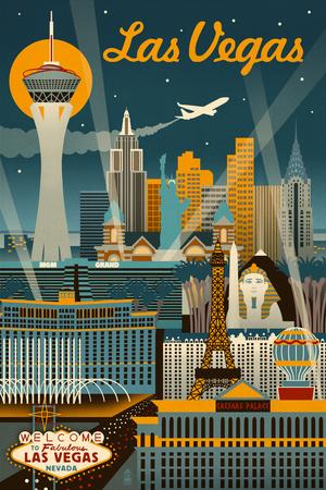 Las Vegas, Nevada - Retro Skyline Print by  Lantern Press