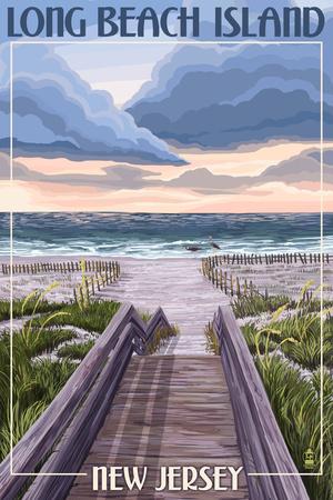 Long Beach Island, New Jersey - Beach Boardwalk Scene Prints by  Lantern Press