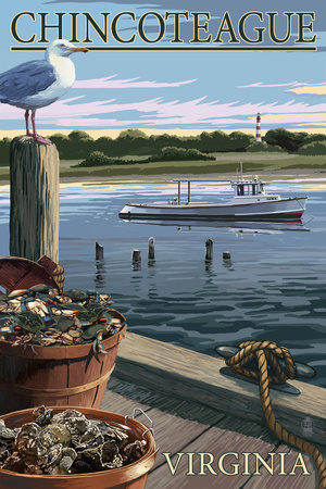 Chincoteague, Virginia - Blue Crab and Oysters on Dock Print by  Lantern Press