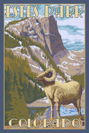 Estes Park, Colorado - Big Horn Sheep Print by  Lantern Press