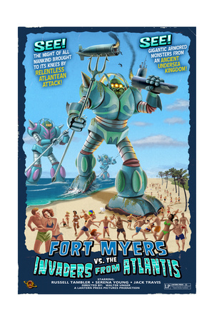 Fort Myers, Florida – Fort Myers vs. Atlantean Invaders Print by  Lantern Press