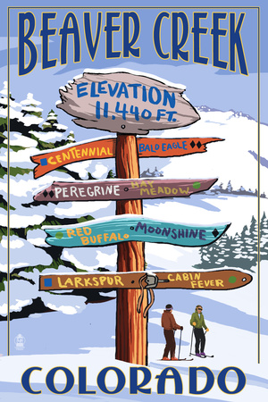 Beaver Creek, Colorado - Ski Signpost Print by  Lantern Press