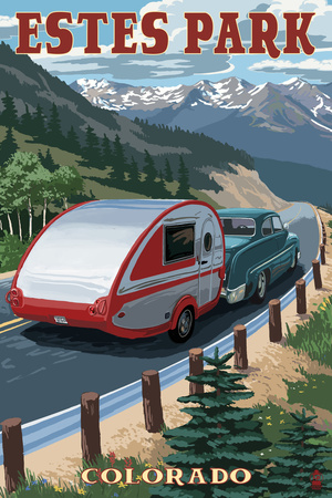 Estes Park, Colorado - Retro Camper Prints by  Lantern Press
