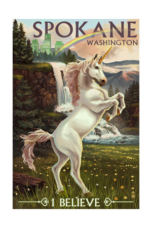 Spokane, Washington - Unicorn Scene Poster by  Lantern Press