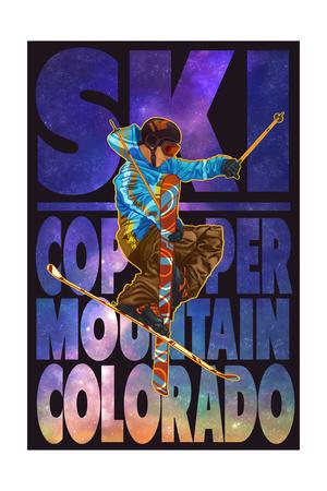 Copper Mountain, Colorado - Milky Way Skier Art by  Lantern Press