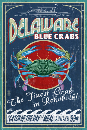 Rehoboth, Delaware - Blue Crabs Vintage Sign Posters by  Lantern Press