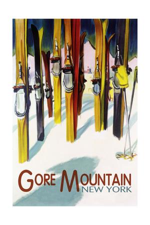 Gore Mountain, New York - Colorful Skis Art by  Lantern Press