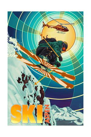 Aspen, Colorado - Heli-Skiing Prints by  Lantern Press