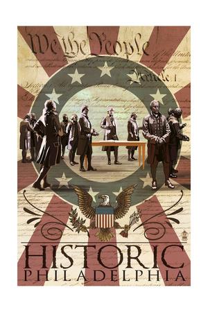 Signing of the Constitution - Philadelphia, Pennsylvania Print by  Lantern Press