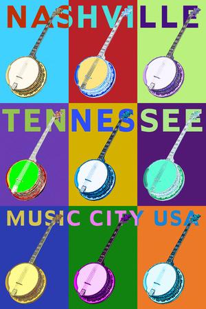 Banjo Pop Art - Nashville, Tennessee Posters by  Lantern Press