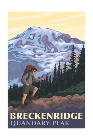 Quandary Peak - Breckenridge, Colorado - Mountain Hiker Prints by  Lantern Press