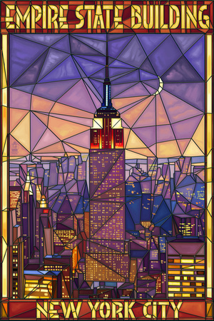 Empire State Building Stained Glass Window - New York City, NY Prints by  Lantern Press