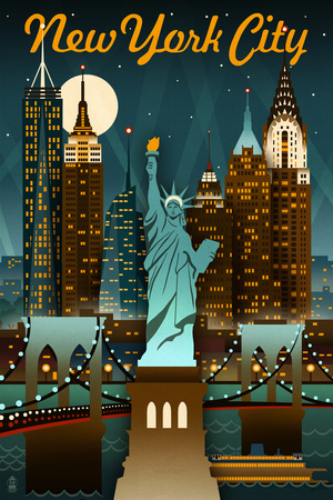 New York City, New York - Retro Skyline Prints by  Lantern Press