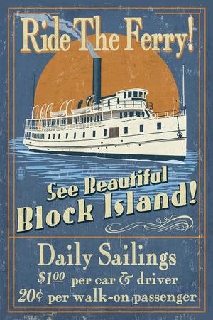 Block Island, Rhode Island - Ferry Ride Vintage Sign Posters by  Lantern Press