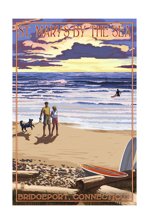 Bridgeport, Connecticut - Beach and Sunset Prints by  Lantern Press
