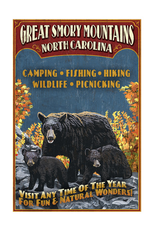 Great Smoky Mountains, North Carolina - Black Bears Vintage Sign Posters by  Lantern Press