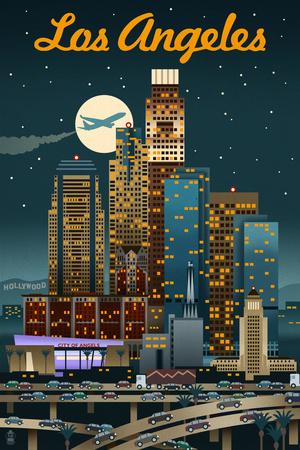 Los Angeles, California - Retro Skyline Prints by  Lantern Press