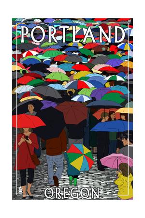 Portland, Oregon - Umbrellas Prints by  Lantern Press
