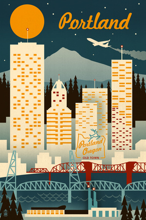 Portland, Oregon - Retro Skyline Prints by  Lantern Press