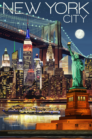 New York City, NY - Skyline at Night Art by  Lantern Press