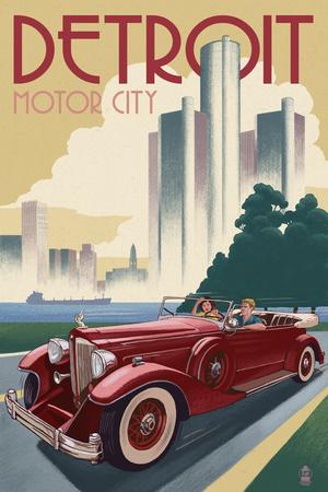 Detroit, Michigan - Vintage Car and Skyline Prints by  Lantern Press