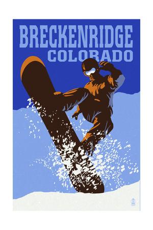 Breckenridge, Colorado - Colorblocked Snowboarder Posters by  Lantern Press