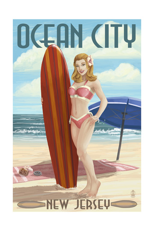 Ocean City, New Jersey - Surfing Pinup Girl Art by  Lantern Press