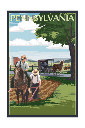 Pennsylvania - Amish Farm Scene Posters by  Lantern Press