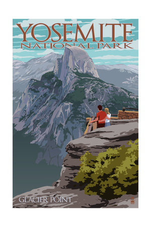 Yosemite National Park, California - Glacier Point and Half Dome Prints by  Lantern Press