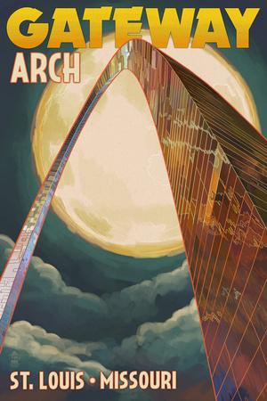 St. Louis, Missouri - Gateway Arch and Moon Posters by  Lantern Press