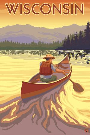 Wisconsin - Canoe Scene Prints by  Lantern Press