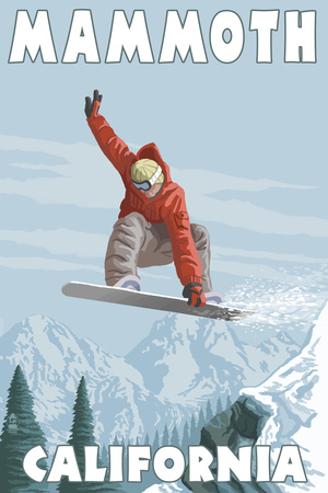 Mammoth, California - Snowboarder Jumping Prints by  Lantern Press