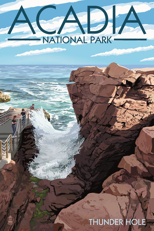 Acadia National Park, Maine - Thunder Hole Day Kunst von  Lantern Press
