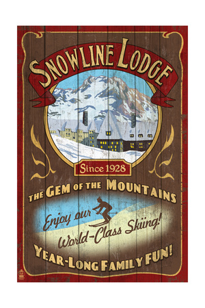 Ski Lodge – Vintage Sign Print by  Lantern Press